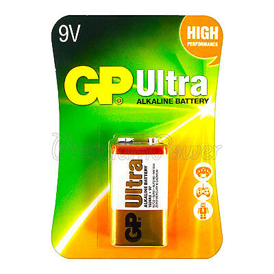 1 x GP Alkaline Ultra 9V battery Block 6LP3146 PP3 LR22 MN1604 6LR61 EXP:2021