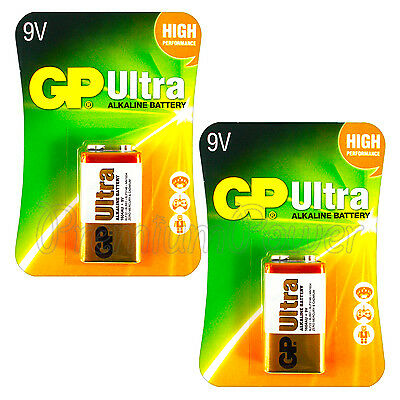 2 x GP Alkaline Ultra 9V batteries Block 6LP3146 PP3 LR22 MN1604 6LR61 EXP:2021