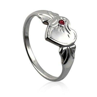 Girls /ladies Sterling Silver Signet Ring With Birth Month Stone Rrp $39.95