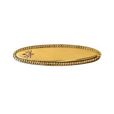 Baby Girls 22K G/pl S/silver Oval Shaped  Baby Brooch With Pink Cubic Zirconia