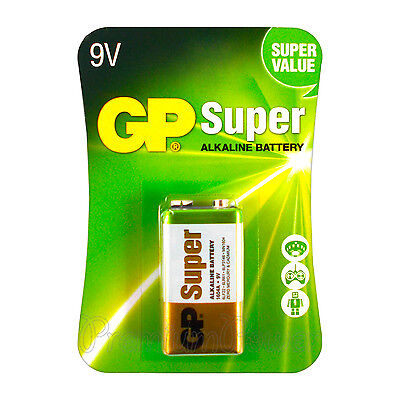1 x GP Alkaline Super 9V battery Block 6LP3146 PP3 LR22 MN1604 6LR61 EXP:2021
