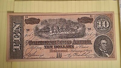 Confederate States of America 10 Dollar note February, 1864  Richmond Virgina