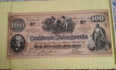 Confederate States of America 100 Dollar note November, 1862  Richmond Virgina