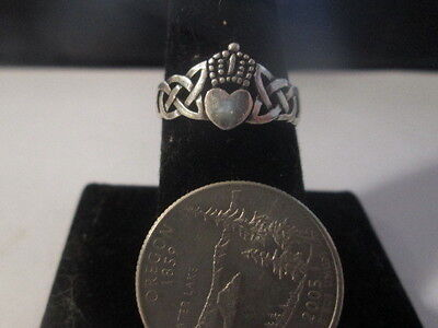 Vintage Sterling Silver Irish Claddaugh Ring, Size 8