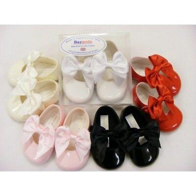 Baby Girls Spanish Style Large Picot Bow Soft Sole Pram Shoes 5 Colour Baypods