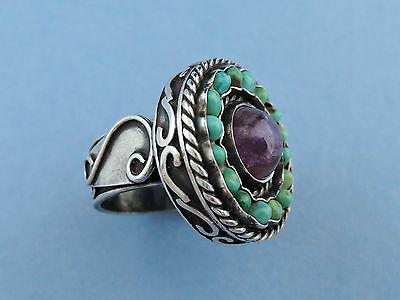 Vintage Matl Style Sterling Silver Amethyst & Turquoise Ring - Mexico c1950