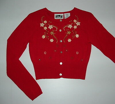 Girls Red embroidered sweetheart Cardigan Sweater By Speechless (Size 10) EUC