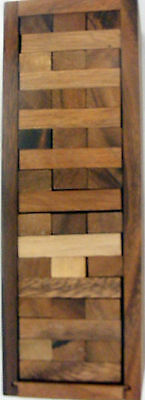 wooden JENGA tower game board puzzle games 54 bricks 12 inch incl wooden box
