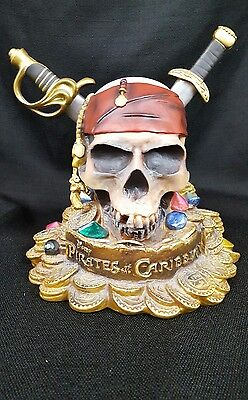 Disney Store Pirates Of The Caribbean Coin Bank Booty Skull And Daggers