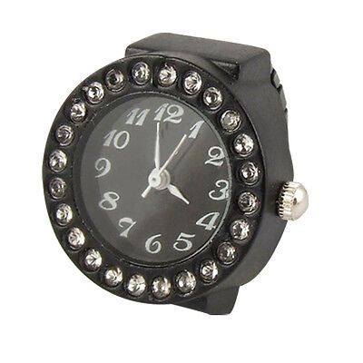 Ladies Elastic Black Band Rhinestone Case Finger Ring Watch O2T7