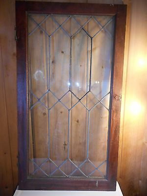 "Antique Leaded Glass Cabinet Door Original Hardware No Cracks ~ 22"" x 39.5"""