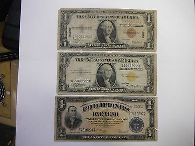 Hawaii,North Africa,Pilippines, WW2 Notes,Nice set of All three, Free Comb. ship