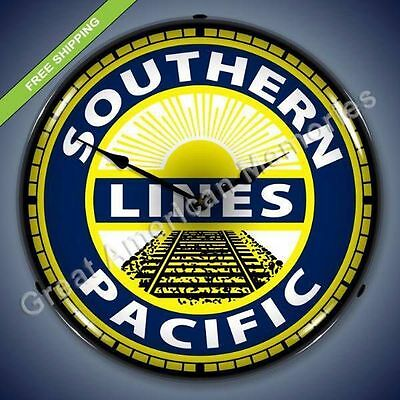 """Southern Pacific Lines 14"""" Lighted Clock RR Train"""