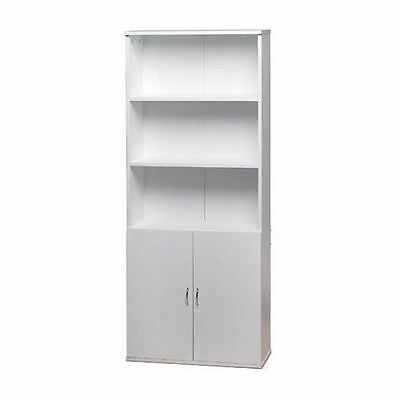 White Wooden Bookcase Shelves 2 Doors Cupboard Cabinet Home Office Storage Unit