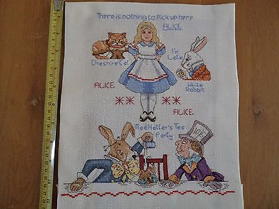 Beautiful Hand Made Counted Cross Stitch Picture - Alice in Wonderland