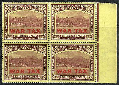 SG 58 DOMINICA 1919 - 3d PURPLE/YELLOW RH MARG. BLOCK OF 4 - MOUNTED MINT