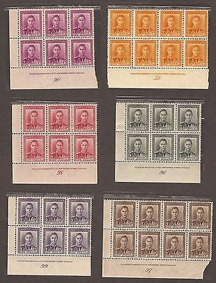 George Vi Set Of 9 - Mnh - Blocks Of Each - Bradbury Wilkinson In Gutters