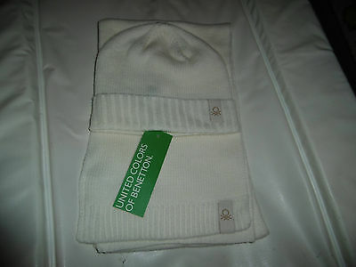 NEW Benetton Cream Hat and Scarf Set 1-2 Years