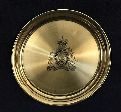 """Solid Brass Royal Canadian Mounted Police 12"""" Tray Made In Canada By Fantasy"""