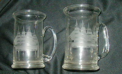 2 VINTAGE GLASS BEER MUGS, TANKARDS w ETCHED SAILING SHIPS, NAUTICAL COLLECTIBLE