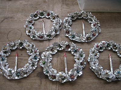 "5 Vtg. 8"" CHRISTMAS ALUMINUM Disc Wreaths w/ MERCURY BEAD GLASS Balls w/ CANDLE"