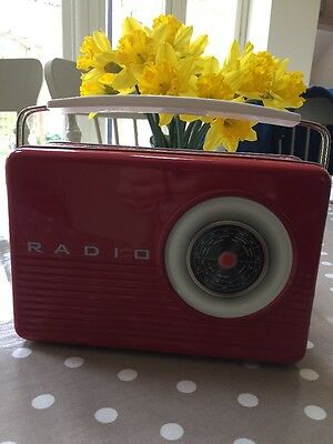 Retro Radio style Biscuit Tin new Red & White collectable display storage