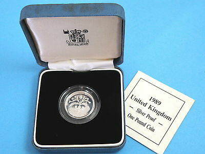 1989 Royal Mint SILVER PROOF ONE POUND £1 COIN  c/w Box & Certificate