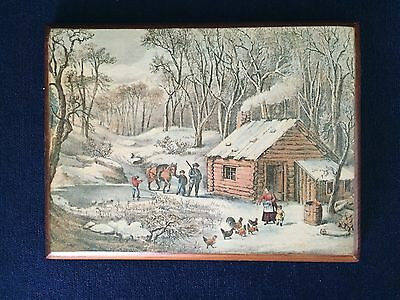 Vintage Colonial Winter Scene Wall Hanging Plaque