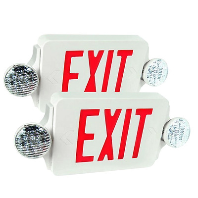 eTopLighting 2 Packs of LED Red Exit Sign Emergency Light Combo with Battery Bac