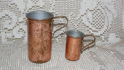 Vintage Copper And Brass Measuring Cups Set 1/4C 3/4C