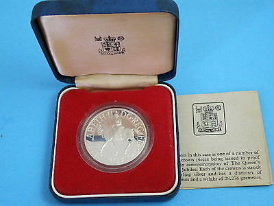 1977 Royal Mint SILVER PROOF CROWN COIN 'Silver Jubilee' + box + Certificate