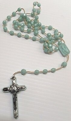 Vintage Rosary Pale Blue Plastic Beads Rosary, Nylon Rope Italy 16.5 Inches