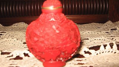 Cinabar Perfume/snuff Bottle Perfect Condition= Reduced