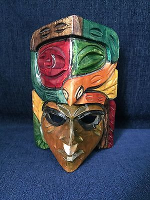 Wooden Tribal Face/Mask With Snake Painted Decorative Collectible