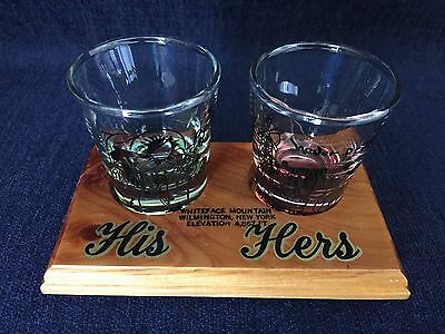 Vintage His & Hers Shot Glasses With Wooden Stand Western Theme