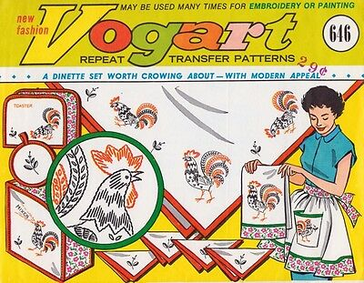 Vogart 646 Vintage Hand Embroidery Transfer Pattern Rooster Bee Tea Towel