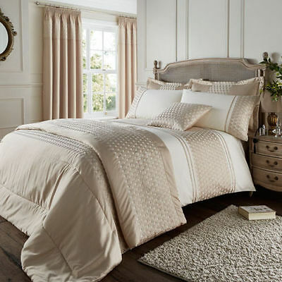 Catherine Lansfield Lille Cream/Gold Luxury Embellished Duvet Cover Bedding Set