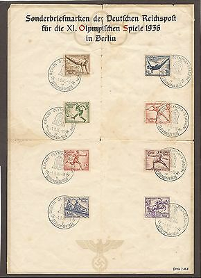 1936 German Olympic Games 8 Stamps Souvenir Sheet - 8 Cancels