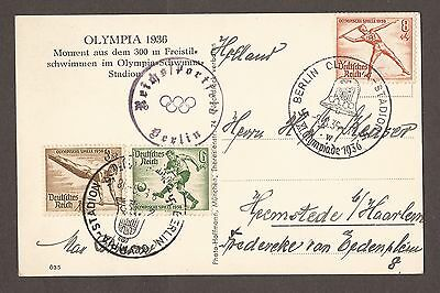 1936 Olympic Games Berlin R Photo Postcard / Stamps - Nice Cancelled Marks - Exc