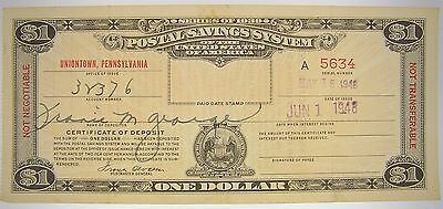 Series of 1939 Postal Savings System One Dollar Certificate Pennsylvania Issue