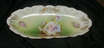 """OLD """"IDEAL"""" GERMANY PORCELAIN CELERY DISH, TRAY w ROSES, HAND PAINTED DETAILS"""