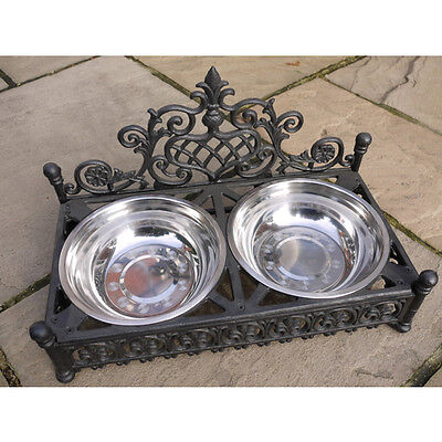 Double pet dog cat food bowls stainless steel black heavy ornate cast iron new
