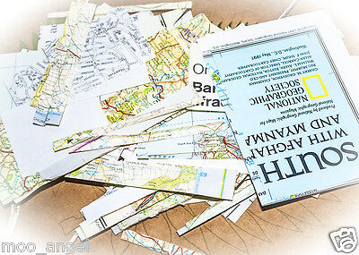 Craft collage scrapbook Printed paper maps scraps of all sizes 150g decoupage