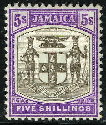 SG 45 JAMAICA 1905 - 5s GREY & VIOLET - MOUNTED MINT