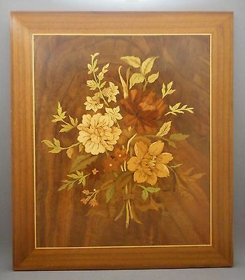 Vintage Signed William Bill Bader Handmade Wood Folk Art Inlay Marquetry Plaque
