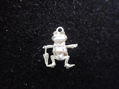 Vintage Silver Articulated Frog with Brolly