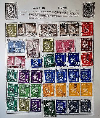 Finland Thirty-Seven  Earlier Issued Stamps On Album Page Used