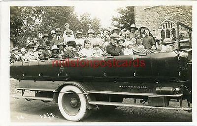 Real Photographic Postcard Of A Charabanc Outside Little Wakering Church, Essex