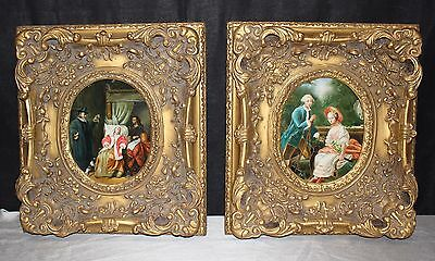 Pair of Antique Gold Gesso 17x19 Wood Frames & Oval Colonial Style Oil Paintings