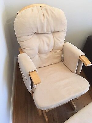 Glider Nursing Chair And Footstool  - Natural Wood/ Beige